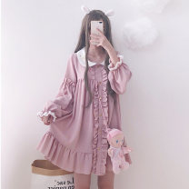 Dress Spring 2020 Picture color One size fits all, XXS pre-sale Middle-skirt singleton  Long sleeves Sweet Doll Collar Loose waist Socket other Others 18-24 years old Type A Other / other solar system