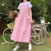 Dress Spring 2021 Pink , violet , Navy One size fits all, XXS pre-sale Mid length dress singleton  Sleeveless Sweet One word collar High waist Solid color Socket other straps 18-24 years old Type A solar system