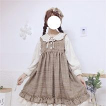 Dress Spring 2020 Grey grid, light brown grid One size fits all, XXS pre-sale Middle-skirt singleton  Long sleeves Sweet High waist Others 18-24 years old Type A solar system