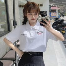 T-shirt White, black One size fits all, XXS pre-sale Summer 2021 Short sleeve Polo collar easy Regular routine Sweet cotton 96% and above 18-24 years old originality solar system
