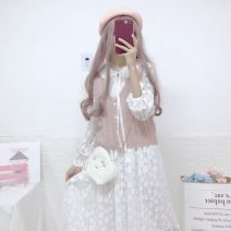 Dress Autumn 2020 White lace skirt, pink vest One size fits all, XXS pre-sale Mid length dress singleton  commute High waist A-line skirt Others 18-24 years old Type A Korean version