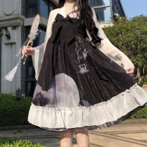 Dress Summer 2020 Picture color S. M, XXXs pre-sale Middle-skirt singleton  Long sleeves Sweet Doll Collar High waist Socket A-line skirt 18-24 years old Type A 9454# Lolita