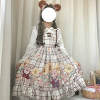 Dress Autumn of 2019 One size fits all, XXS pre-sale Middle-skirt singleton  Long sleeves Sweet One word collar High waist camisole 18-24 years old Type A Other / other Lolita