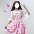 Dress Summer of 2019 One size fits all, XXS pre-sale Mid length dress Two piece set Sleeveless Sweet Doll Collar middle-waisted Hand painted other Princess Dress other camisole 18-24 years old Type A Other / other A008 91% (inclusive) - 95% (inclusive) other polyester fiber solar system