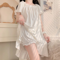 Nightdress Other / other Nightgown, pajamas Average size girl Short sleeve Leisure home longuette summer Solid color youth other bow 61% (inclusive) - 80% (inclusive) 5201#
