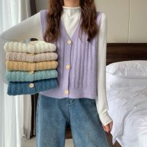 Wool knitwear Winter 2020 One size fits all, XXS pre-sale Light yellow, apricot, mint green, fog blue, milk white, taro purple, black, white Long sleeves Two piece set Cardigan other 31% (inclusive) - 50% (inclusive) Regular routine commute V-neck Single breasted Korean version 18-24 years old