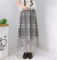 skirt Winter of 2019 One size fits all, XXS pre-sale grey Mid length dress Sweet High waist A-line skirt Type A 18-24 years old Other / other solar system