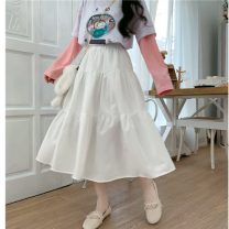 skirt Autumn 2020 One size fits all, XXS pre-sale White, black Mid length dress Sweet High waist Cake skirt Solid color Type A 18-24 years old college
