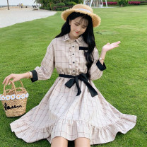 Dress Spring of 2019 Picture color One size fits all, XXS pre-sale Middle-skirt singleton  Long sleeves Sweet High waist lattice bishop sleeve 18-24 years old Type A Other / other solar system