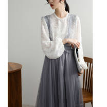 Fashion suit Spring of 2019 S,M,L,XL White top + blue strap skirt