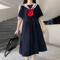 Dress Summer 2021 Blue, Navy, blue premium, Navy premium S,M,L Middle-skirt singleton  Short sleeve Sweet Admiral High waist A-line skirt 18-24 years old Type A bow 30% and below solar system
