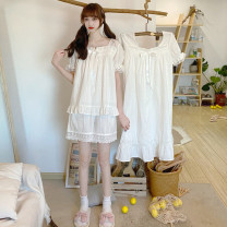 Pajamas / housewear set female Other / other Average size Suit, nightdress other Short sleeve Sweet pajamas summer square neck Solid color youth Less than 20% lace Middle-skirt