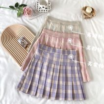 skirt Summer 2021 Average size Purple, pink, light green Short skirt Sweet High waist Pleated skirt lattice Type A 18-24 years old 30% and below Pleating college