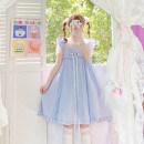 Dress Summer 2021 Cherry pink, baby blue, goose yellow Average size Middle-skirt singleton  Sweet High waist Socket Big swing 18-24 years old Type A bow 30% and below solar system