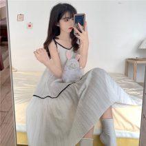 Pajamas / housewear set female Other / other Average size white other Sweet pajamas summer Thin money V-neck Solid color Socket youth longuette