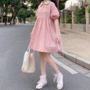 Dress Summer 2020 Pink, pink premium, baby blue, baby blue premium, Navy, Navy premium Average size Mid length dress singleton  Short sleeve Sweet Polo collar High waist Solid color Socket A-line skirt routine Others 18-24 years old solar system