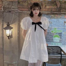 Dress Summer 2021 Picture color Average size Middle-skirt singleton  Short sleeve Sweet One word collar High waist Socket Big swing puff sleeve 18-24 years old Type A bow 30% and below princess