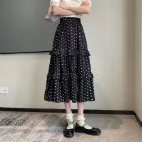 skirt Summer 2021 Average size Black polka dot skirt, white polka dot skirt Mid length dress commute Splicing style Dot Type A 18-24 years old 30% and below Stitching, printing Korean version