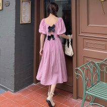 Dress Summer 2021 Light yellow, pink Average size Mid length dress singleton  Short sleeve Sweet square neck High waist Solid color Socket A-line skirt puff sleeve Others 18-24 years old Type A Bows, open backs, folds 30% and below