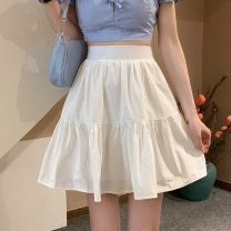 skirt Summer 2021 S,M,L White, yellow, black, pink, Mint Milk Green Short skirt Versatile High waist Ruffle Skirt Type A 18-24 years old 30% and below Lotus leaf edge
