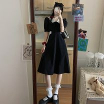 Dress Summer 2021 Picture color, picture color high quality version Average size Mid length dress singleton  Short sleeve commute Doll Collar High waist puff sleeve 18-24 years old Type A Korean version Bandage 30% and below