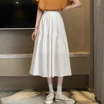 skirt Summer 2021 Average size White, black Mid length dress Versatile Natural waist Irregular Solid color Type A 18-24 years old 30% and below Fold, splice