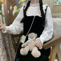 Dress Summer 2021 Picture color Average size Mid length dress Fake two pieces Long sleeves Sweet Loose waist Socket 18-24 years old Type A Fungus, splicing 30% and below solar system