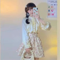 skirt Spring 2021 Average size Shirt, skirt s, Skirt M Short skirt commute High waist Fluffy skirt Type A 18-24 years old 30% and below Auricularia auricula, printed Korean version