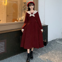 Dress Winter 2020 Red, black, red premium, black premium Average size Mid length dress singleton  Long sleeves commute Admiral Elastic waist Solid color Socket A-line skirt routine 18-24 years old Type A Retro Tie, bow 30% and below
