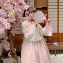 Dress Autumn of 2019 Average size Mid length dress Two piece set Long sleeves Sweet V-neck Loose waist Socket pagoda sleeve 18-24 years old Bowknot, embroidery, gauze princess