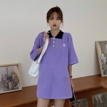 T-shirt Purple, black Average size Summer 2021 Short sleeve Polo collar easy Medium length routine commute other 30% and below 18-24 years old Korean version Plant flowers, solid color, color matching Buttons, embroidery