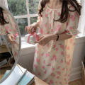 Nightdress Other / other Orange, yellow, pink Average size Sweet Short sleeve pajamas longuette summer Plants and flowers youth Crew neck Lotus leaf edge Less than 20% 200g and below