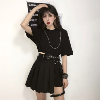 Fashion suit Summer 2020 Average size Black long T + chain, short skirt + belt, waist bag and leg ring 18-25 years old