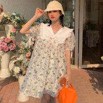Dress Summer 2021 White green leaves Average size Middle-skirt singleton  Short sleeve Sweet Lotus leaf collar Loose waist Decor Socket Big swing other Others 18-24 years old Type H Ruffles, 3D 30% and below solar system