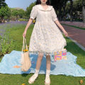 Dress Summer 2021 Picture color Average size Mid length dress singleton  Short sleeve Sweet Doll Collar High waist Broken flowers Socket Big swing puff sleeve 18-24 years old Type A Gauze 30% and below college