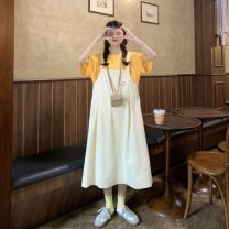 Dress Summer 2021 White T (one piece), yellow T (one piece), apricot strap skirt (one piece), black strap skirt (one piece) Average size longuette commute Loose waist Socket Big swing straps 18-24 years old Type H Korean version straps 30% and below