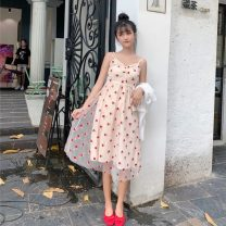 Dress Summer 2021 Pink Average size Middle-skirt singleton  Sweet High waist Socket Big swing camisole 18-24 years old Type A Embroidery 30% and below solar system