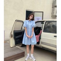 Dress Summer 2021 White, blue Average size Middle-skirt singleton  Short sleeve commute Doll Collar High waist Solid color Socket A-line skirt routine 18-24 years old Type A Korean version Button 30% and below