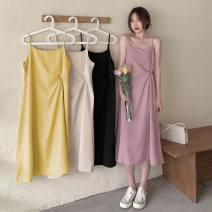 Dress Summer 2021 Apricot, pink, yellow, black Average size longuette singleton  Sleeveless Sweet middle-waisted Solid color Socket Pencil skirt camisole 18-24 years old Type A backless 30% and below solar system