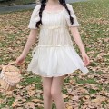 Dress Summer 2021 Picture color Average size Middle-skirt singleton  Short sleeve Sweet middle-waisted Solid color Socket Big swing puff sleeve 18-24 years old Type A Lotus leaf edge 30% and below solar system