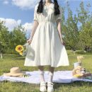 Dress Summer 2021 Picture color Average size Mid length dress singleton  Short sleeve Sweet Doll Collar High waist Solid color Socket A-line skirt puff sleeve Others 18-24 years old Type A Fold, tuck, button 30% and below solar system