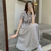 Dress Summer 2021 Red flower, red flower high quality version, purple flower, purple flower high quality version Average size Mid length dress other Short sleeve Sweet High waist Decor A-line skirt puff sleeve Others 18-24 years old Type A Printed, pleated, lace up 30% and below Mori