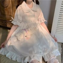 Dress Summer 2021 Picture color, picture color high quality version Average size Middle-skirt singleton  Short sleeve Sweet Doll Collar Elastic waist Solid color Single breasted Big swing puff sleeve Others 18-24 years old Type A Button, strap, Auricularia auricula 30% and below solar system