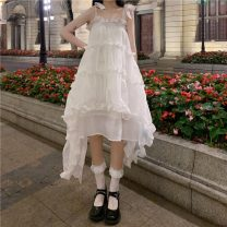 Dress Summer 2021 White dress Average size singleton  commute High waist Socket Irregular skirt 18-24 years old Type A Korean version fungus 30% and below