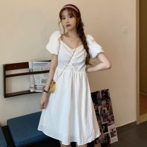 Dress Summer 2021 white Average size Short skirt singleton  Short sleeve Sweet square neck Loose waist Solid color Socket A-line skirt puff sleeve Others 18-24 years old Type A Open back, fold 30% and below solar system