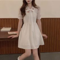 Dress Summer 2021 White, black S,M,L Middle-skirt singleton  Short sleeve Sweet other High waist Solid color Socket A-line skirt puff sleeve Others 18-24 years old Type A Bow tie 30% and below solar system