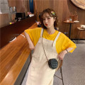 Dress Summer 2021 Suspender skirt apricot, yellow T Average size Mid length dress Short sleeve commute Loose waist double-breasted 18-24 years old Type H Korean version straps 30% and below