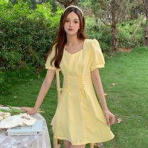 Dress Summer 2021 White, blue, yellow, white premium, blue premium, yellow premium M, L Middle-skirt singleton  Short sleeve Sweet High waist Solid color Socket A-line skirt puff sleeve 18-24 years old Type A Frenulum 30% and below solar system