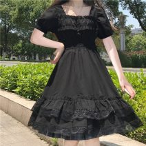 Dress Summer 2021 Picture color Average size Mid length dress singleton  Short sleeve Sweet square neck High waist Socket Big swing puff sleeve 18-24 years old Type A Lotus leaf edge 30% and below solar system