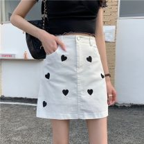 skirt Summer 2021 S,M,L Khaki, white, black Short skirt Sweet High waist A-line skirt other Type A 18-24 years old 30% and below Embroidery solar system
